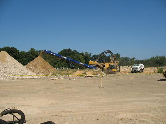 Crushed concrete as crews prepare the subgrade for OU3 cap