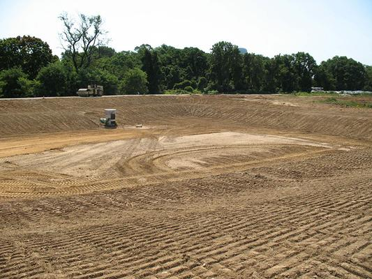 Eastern stormwater detention basin following final grading
