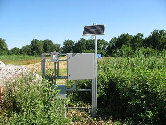 Solar powered control panel on one of the extraction wells