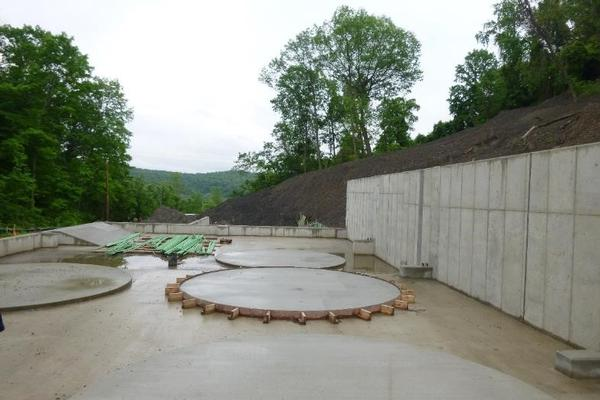 concrete slab for new treatment system tanks