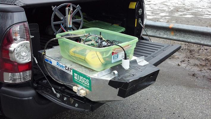 A remote control airboat used to study creeks near landfill.