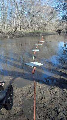 Geophysical survey line extended across Darby Creek.