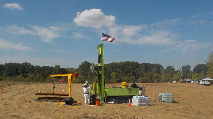 Drilling activities during thermal treatment system installation.