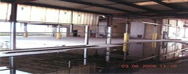 Pooling of water in the loading dock area.