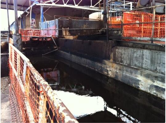 Sump Bay 36 after PRP Group contractor conducted pump down operations on 21 October 2011.