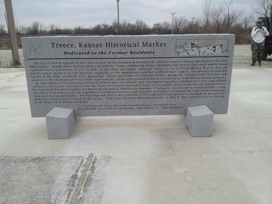 Sign marking the former city of Treece, KS