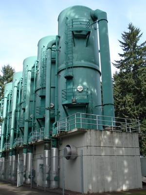 Vancouver Water Station #1, exterior of aeration towers. Photo credit: City of Vancouver Washington